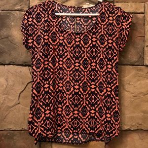 Coral & Navy PINK ROSE  Blouse